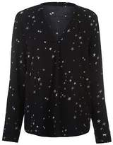 Firetrap Womens Blackseal Pamela Star Print Top Long Sleeve Casual Shirt V Neck
