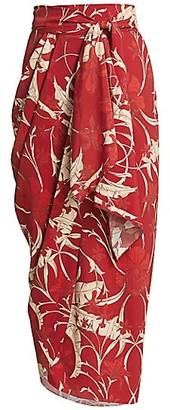 Johanna Ortiz Floral Wrap Midi Skirt