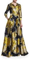 Carolina Herrera 3/4-Sleeve Sunflower Trench Gown, Yellow/Black