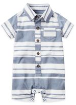 Carter's Button-Front Stripe Romper in Navy/White