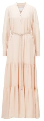 HUGO BOSS Silk Maxi Dress With Voluminous Skirt - light pink