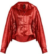 Paula Knorr - Big Long-sleeved Silk-blend Lame Shirt - Womens - Red