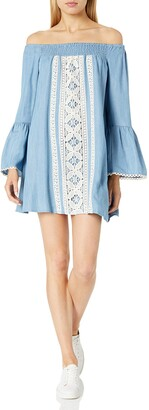 Taylor & Sage Women's Chambray Off The Shoulder Dress with Crochet