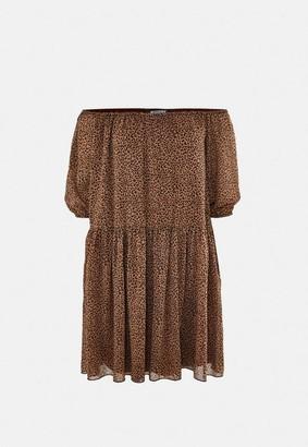 Missguided Brown Leopard Print Bardot Smock Dress