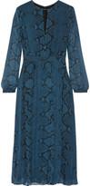 Burberry Snake-print Silk-chiffon Midi Dress - Storm blue