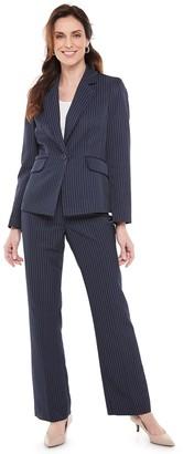 Le Suit Women's Notch Collar Double Pinstripe Pantsuit Set