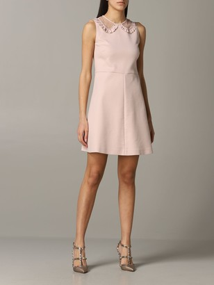 RED Valentino Cady Dress With Point D'esprit Collar