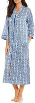 Miss Elaine Medallion-Print Satin & Fleece Tasseled Zip Robe