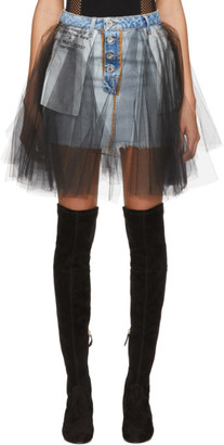 Unravel Blue Denim Tulle Reversed Miniskirt