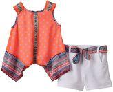 Little Lass Baby Girl Tribal Chiffon Tank Top & Cuffed Shorts Set