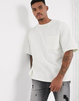 Topman organic boxy t-shirt in white