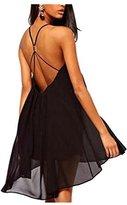 CA Mode CA Fashion Women's Double Spaghetti Straps Open Back Slip Dress