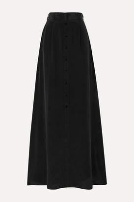 L'Agence Bendetta Belted Silk Crepe De Chine Maxi Skirt - Black