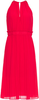 MICHAEL Michael Kors Chain-trimmed Pleated Chiffon Dress