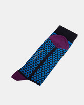 Ted Baker Striped Dotted Patterned Socks Blue
