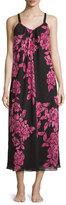 Oscar de la Renta Floral-Print Charmeuse Nightgown, Black/Pink