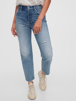 Gap High Rise Distressed Cheeky Straight Jeans