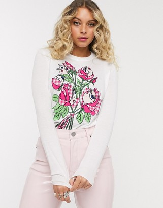 Love Moschino floral graphic print long sleeved t-shirt