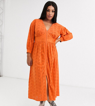 ASOS DESIGN Curve broderie midi dress with hook and eye in orange