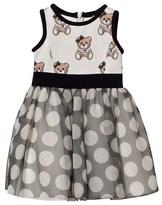 MonnaLisa White Bear Print Neoprene and Spot Tulle Skirt Dress