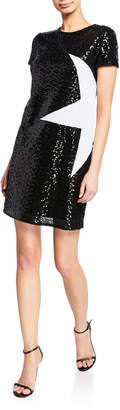 Aidan Mattox Sequin Short-Sleeve Mini Shift Dress w/ Star Applique