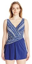 Maxine Of Hollywood Women's Plus-Size Shangri LA Ikat Asymmetrical Swim Dress Swimsuit