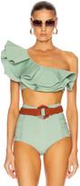 Johanna Ortiz Watercolor Bikini Top in Mint | FWRD