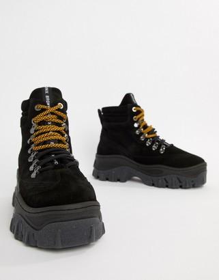 Bronx Jaxstar Hiking black suede chunky hightop sneakers