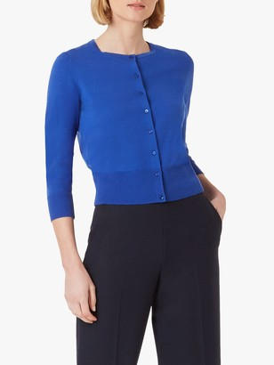 Hobbs Paula 3/4 Length Sleeve Cardigan, Cobalt Blue