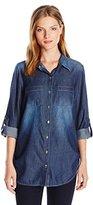 Allison Brittney Women's Roll-Tab Sleeve Denim Chambray Tunic