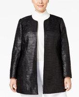 Kasper Plus Size Jacquard Open-Front Jacket