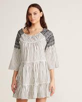 Free People Lola Embroidered Stripe Peasant Dress