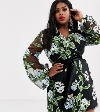 Asos DESIGN Curve embroidered wrap mini dress with blouson sleeve and tie waist