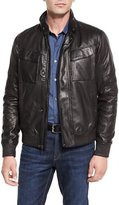 Michael Kors Perforated Leather Bomber Jacket, Black