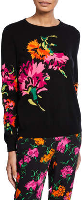 Escada Wool-Cashmere Floral Intarsia Sweater