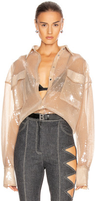 David Koma Sequin Oversized Shirt in Nude | FWRD