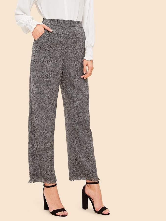 70s Frayed Trim Wide Leg Tweed Pants