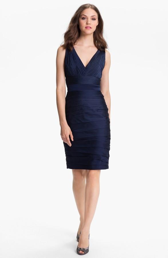 Monique Lhuillier ML Bridesmaids V-Neck Ruched Chiffon Sheath Dress (Nordstrom Exclusive)