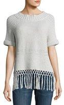 Current/Elliott The Peggy Crochet Short-Sleeve Sweater, Gray