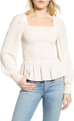 Chelsea28 Square Neck Smocked Top