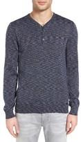John Varvatos Men's Space Dye Henley Sweater
