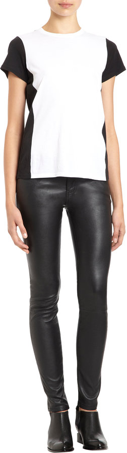 Current/Elliott Leather Five Pocket Jeans - BLACK