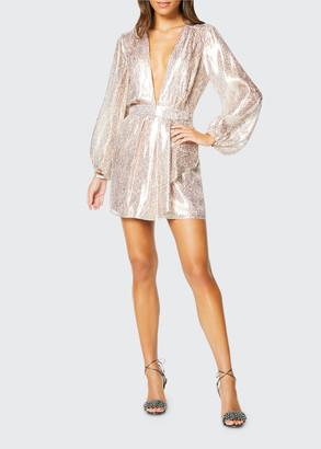 Ramy Brook Amalia Plunging Metallic Cocktail Dress