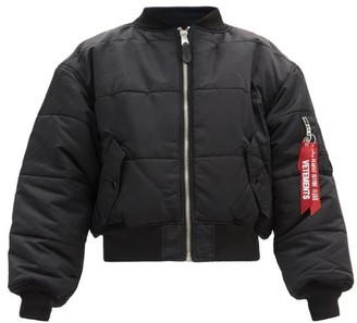 Vetements Reversible Quilted-shell Bomber Jacket - Black Navy