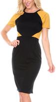 Stanzino Mustard Color Block Short-Sleeve Sheath Dress