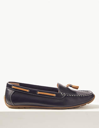 M&S CollectionMarks and Spencer Leather Square Toe Tassel Boat Shoes