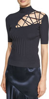 Cushnie et Ochs Natalia Mixed-Rib Sweater with Lacing