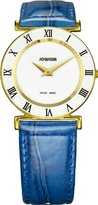 Jowissa Women's J2.102.M Roma Colori 30mm Gold PVD Blue Leather Roman Numeral Watch