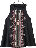 Knitworks Girls 7-16 Embroidered Design Front Tank Top & Tassel Necklace Set