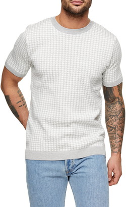 Topman Houndstooth Short Sleeve Sweater